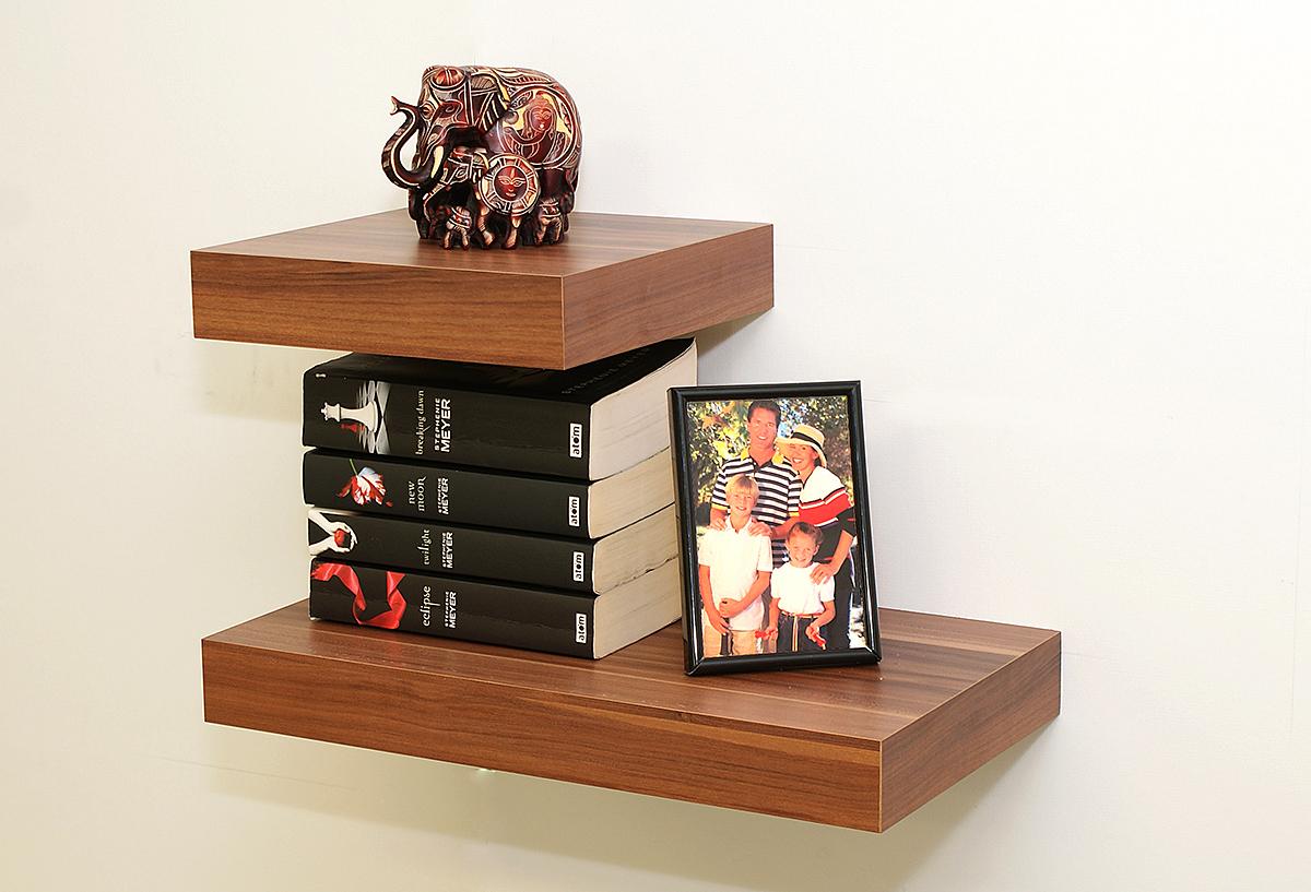 Walnut Floating Shelf Kit 250x250x50mm Mastershelf