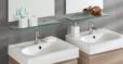 2x 400x120x8mm clear glass bathroom