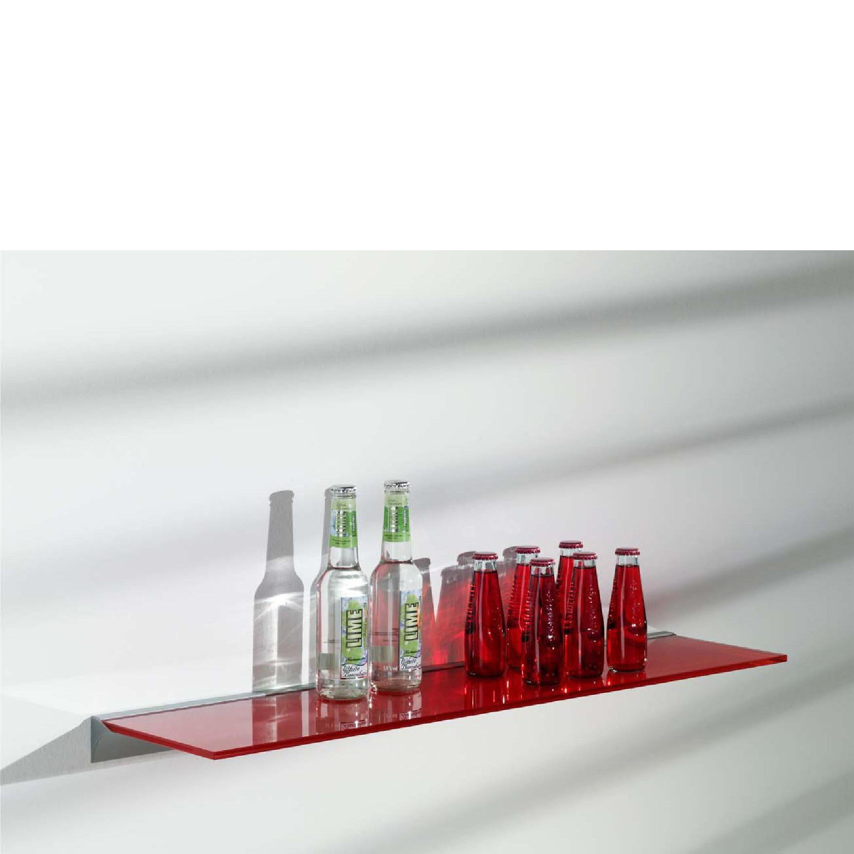 Red Glass Shelf Kit 600x200x8mm Mastershelf