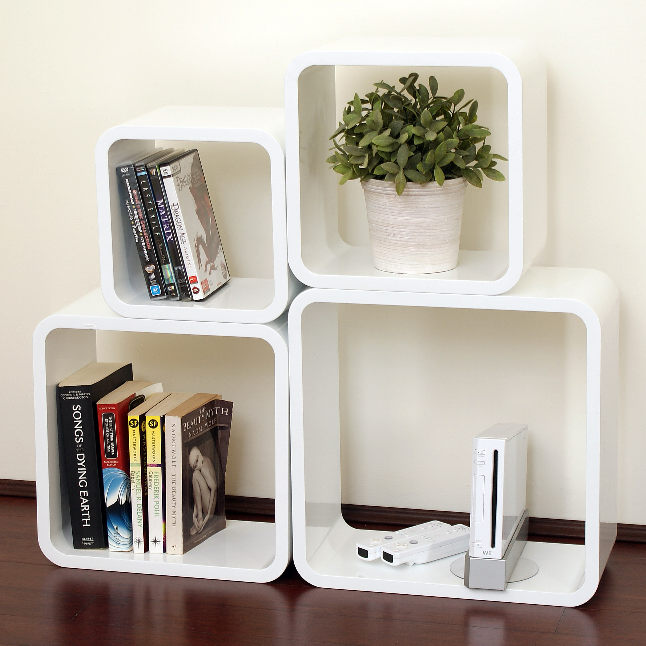 gloss white dekorkube s4 set of 4 mastershelf. Black Bedroom Furniture Sets. Home Design Ideas