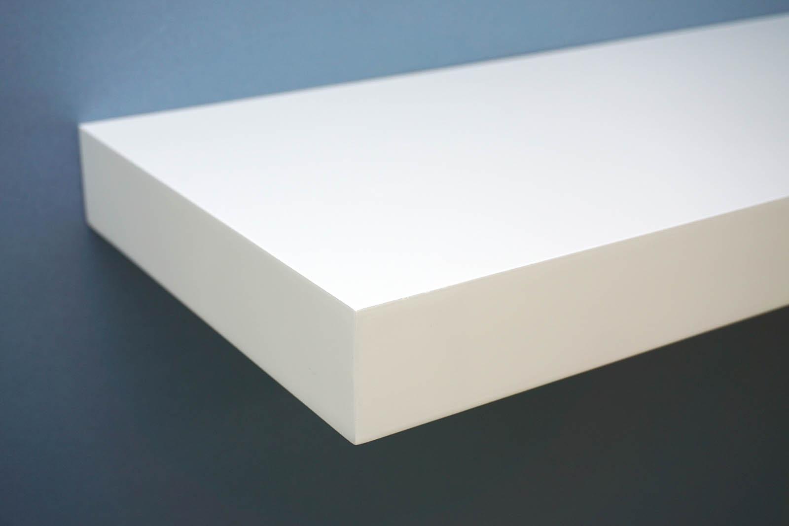gloss white floating shelf 900x250x50mm mastershelf. Black Bedroom Furniture Sets. Home Design Ideas