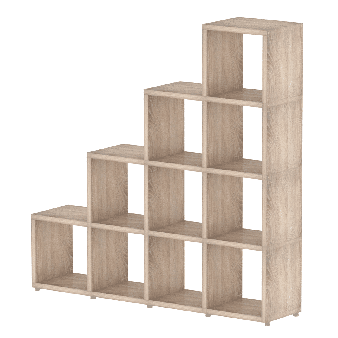 cube storage shelves modular 4 step oak 1452l x 1472h x 328d mastershelf 28872
