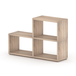 2 step oak wide cube shelves