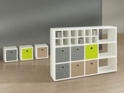 Mixed size white modular shelving unit