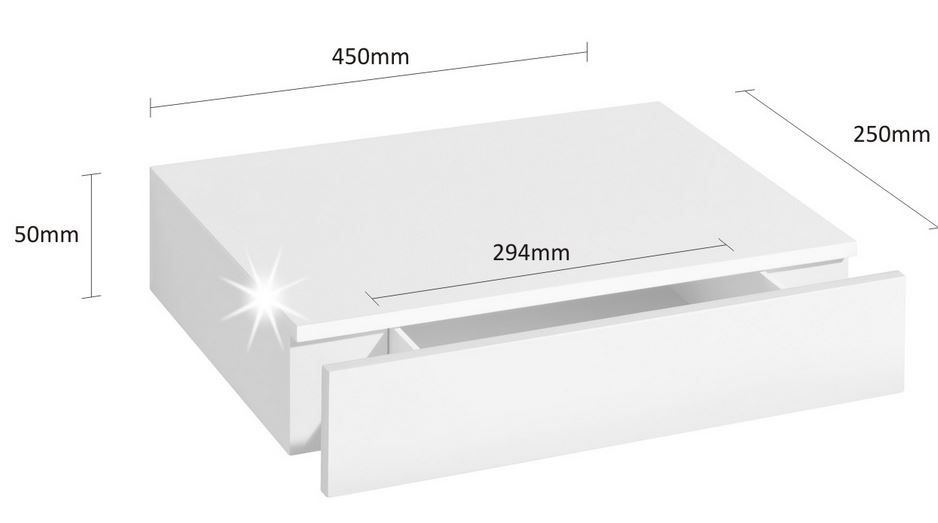 Floating Shelf With Drawer 450x250x80mm