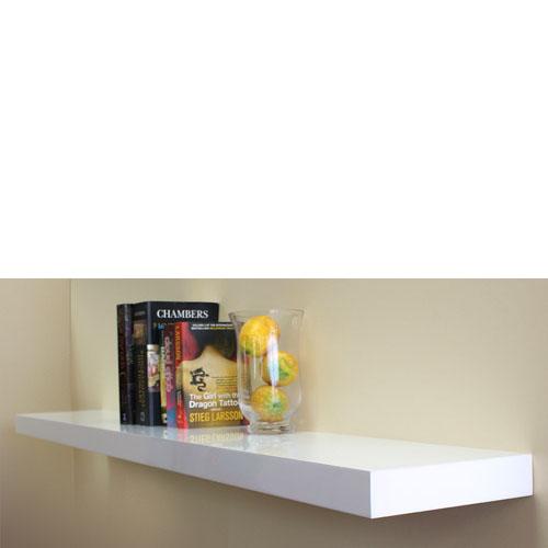 high gloss white floating shelf 1500x250x50mm mastershelf. Black Bedroom Furniture Sets. Home Design Ideas