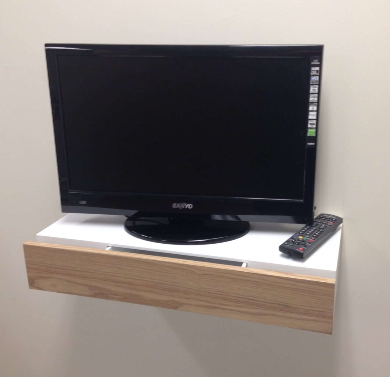 Wood Drawer Shelf Tv Situ Large Mastershelf # Meuble Tv Tres Long