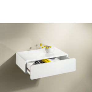 High gloss white drawer shelf