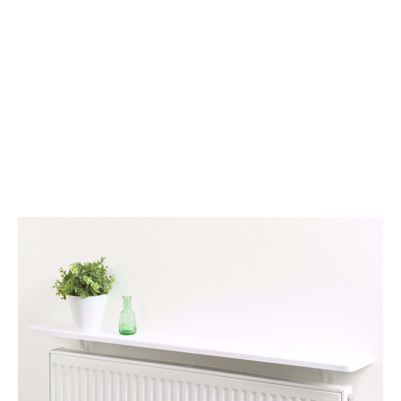 square radiator shelf 600x150x25mm gloss white mastershelf. Black Bedroom Furniture Sets. Home Design Ideas