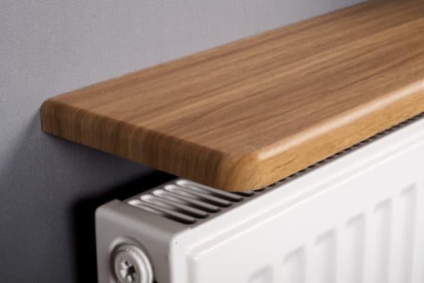 Wooden rounded radiator shelf
