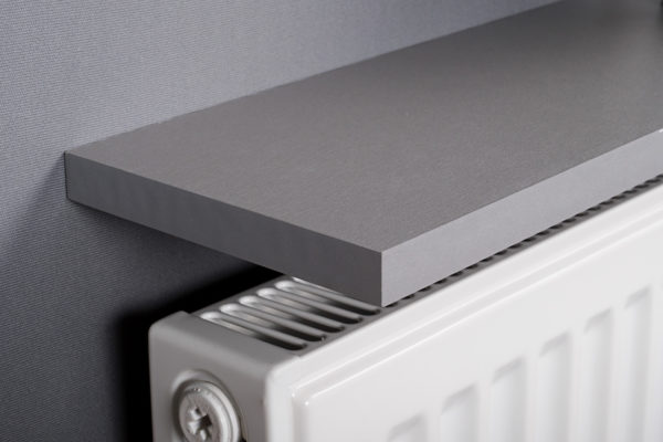 Grey radiator shelf