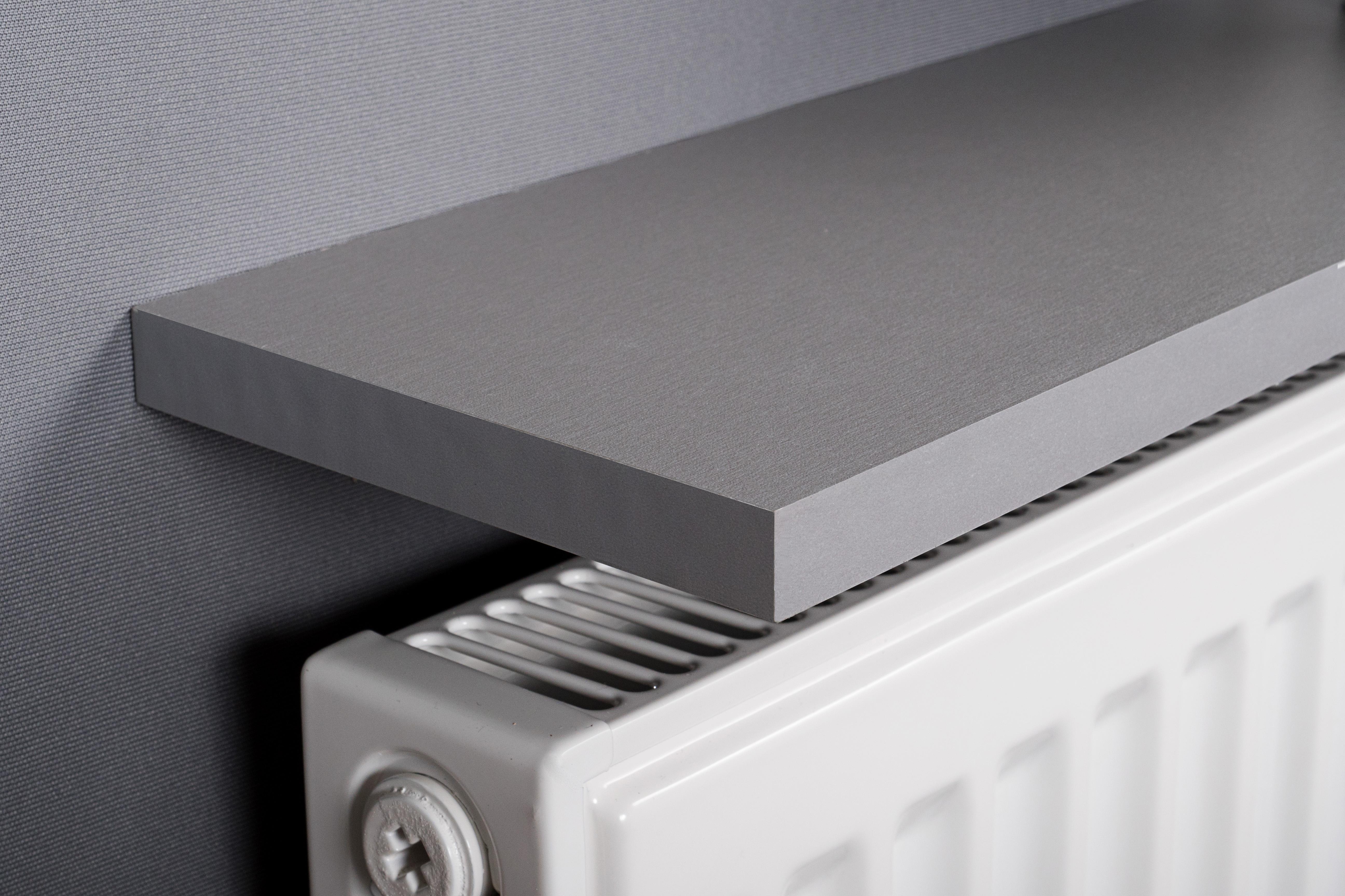 Silver Radiator Shelf 600x150x18mm Square Mastershelf