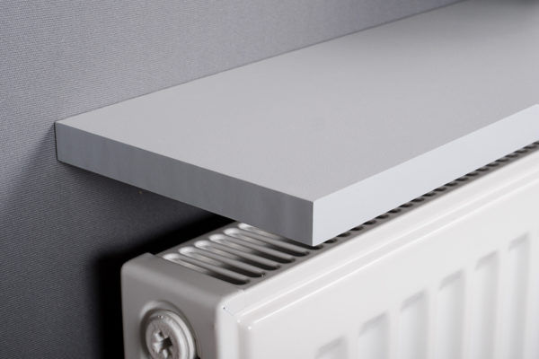 Grey radiator shelf