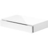 Gloss white floating shelf with drawer