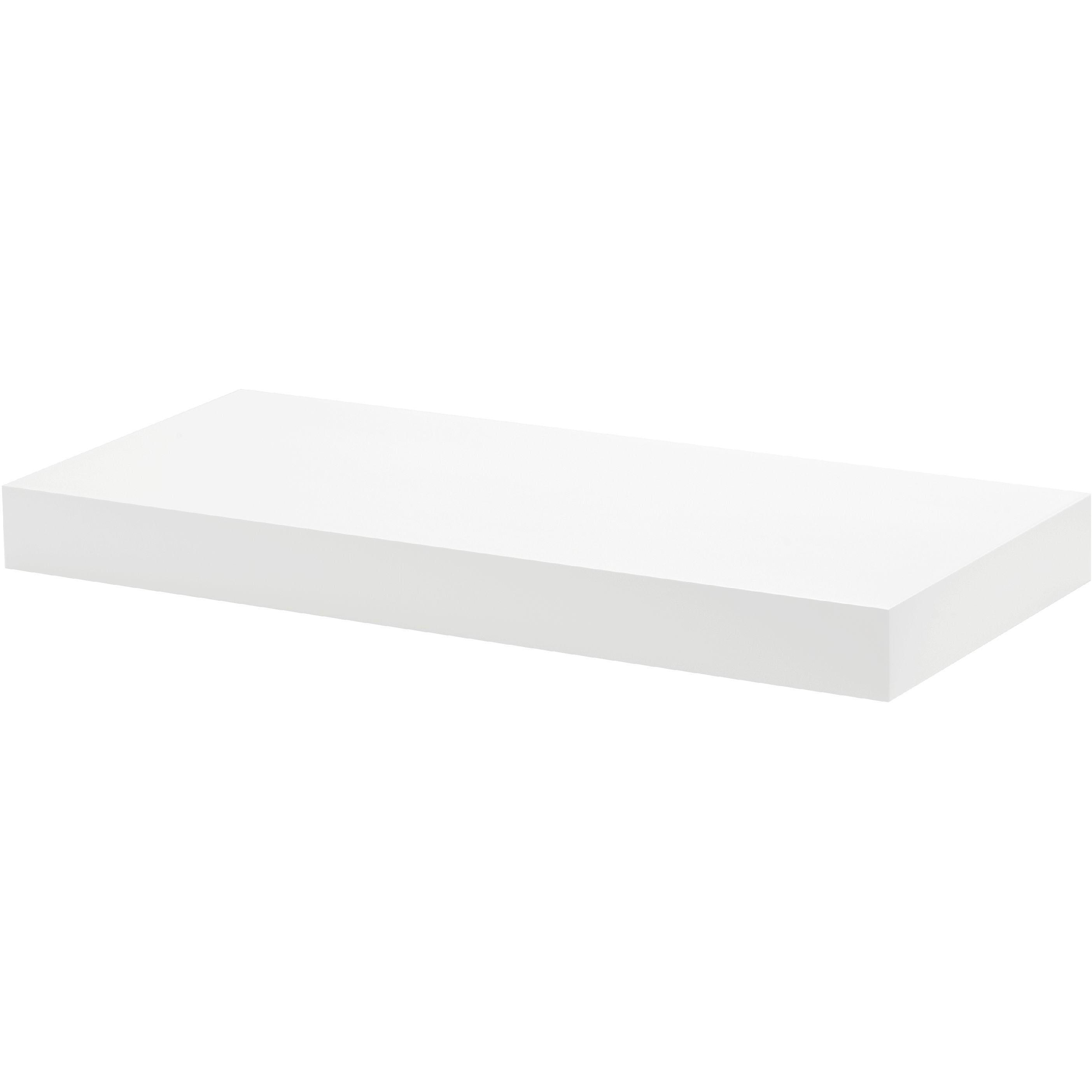 white floating shelf kit 570x250x50mm mastershelf. Black Bedroom Furniture Sets. Home Design Ideas