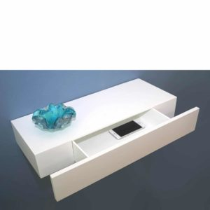 High gloss white drawer shelf