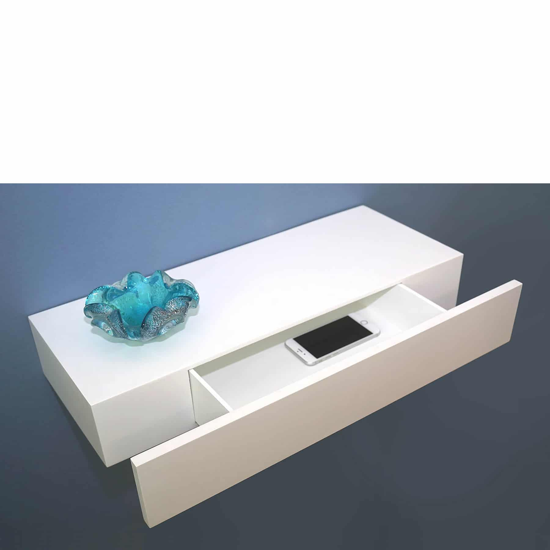 Floating Shelf With Drawer White 600x250x100mm Mastershelf