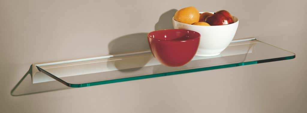 Toughened glass shelf