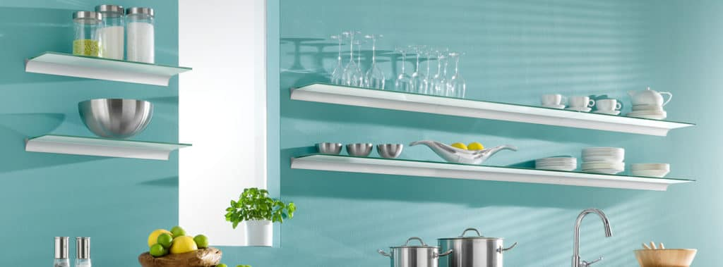 Toughened glass shelves