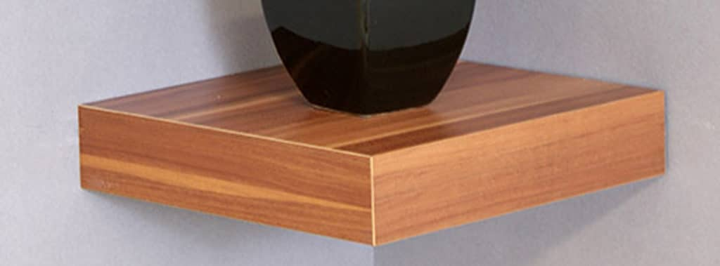 Walnut square corner shelf