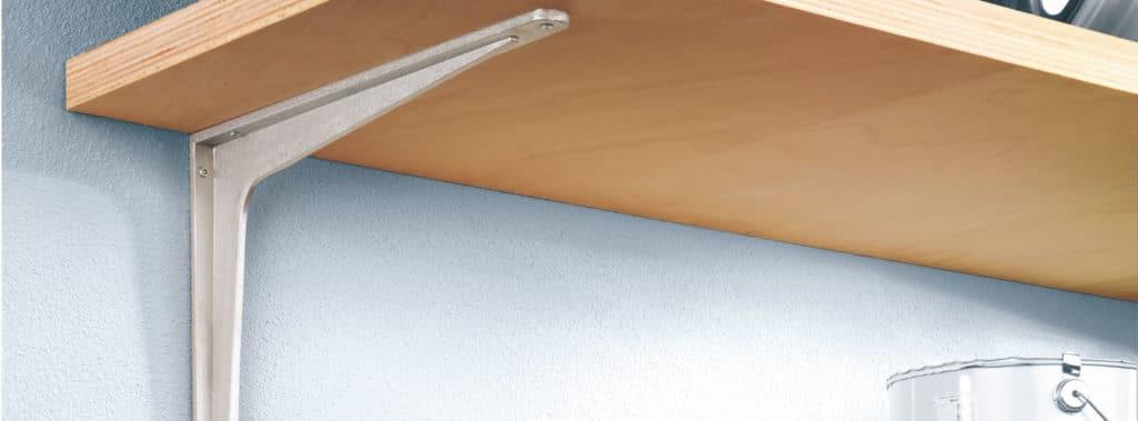 Silver metal shelf bracket