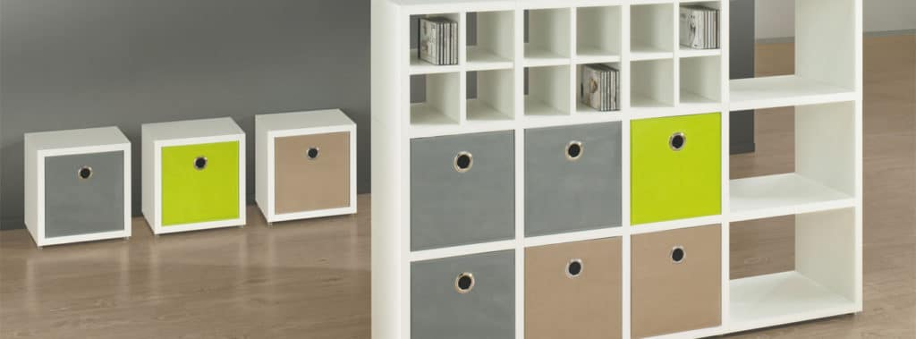 Mixed size white modular shelving
