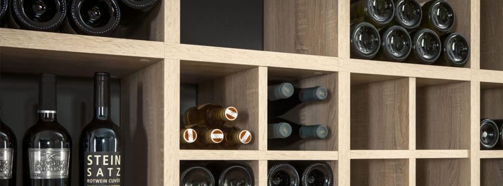 Oak mixed size modular shelving unit