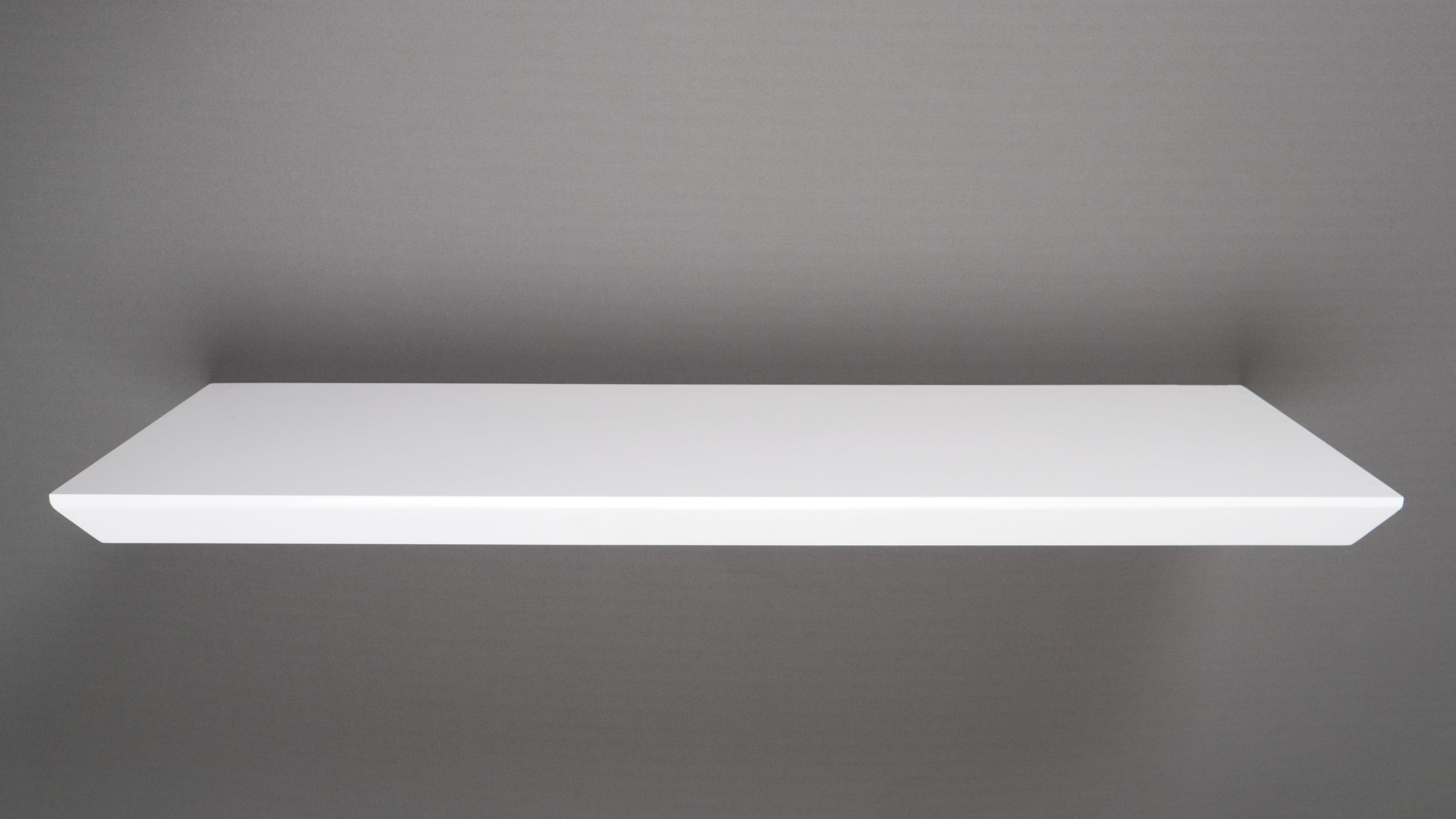 high gloss white bevelled edge floating shelf 800x250x38mm