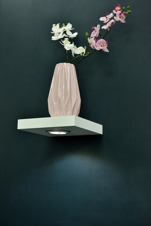 High Gloss White Led Floating Shelf 235x235x38mm Mastershelf