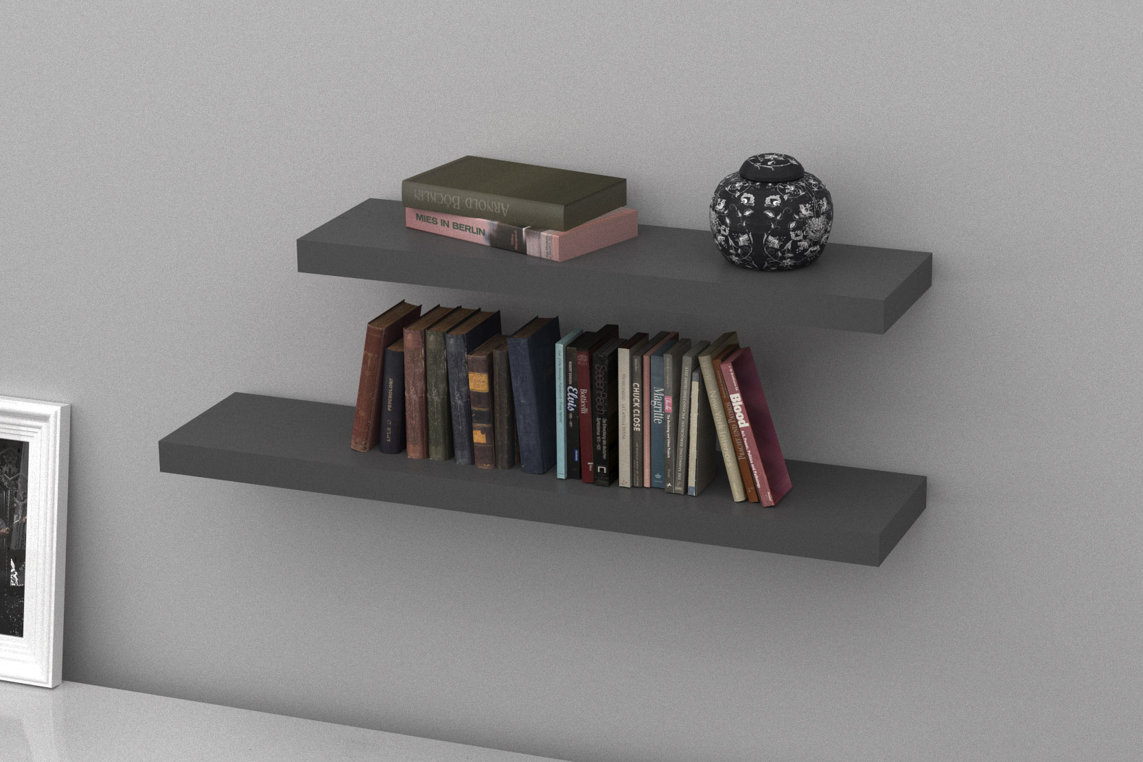 Floating Shelves Stone Grey Double Deal 1150x250x50