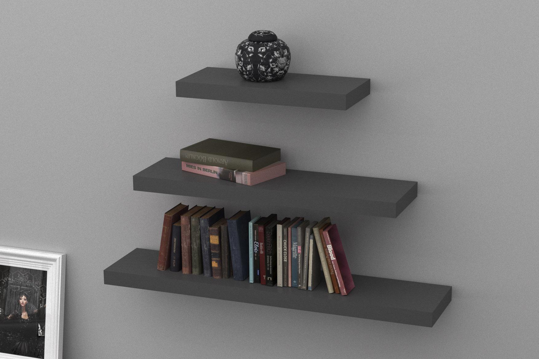 dark grey floating shelf kit 570x250x50mm