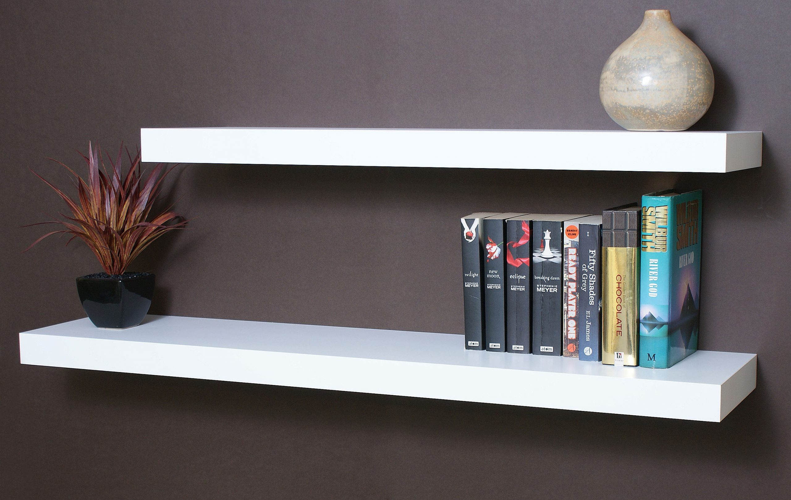 white floating shelf kit 1500x250x50mm