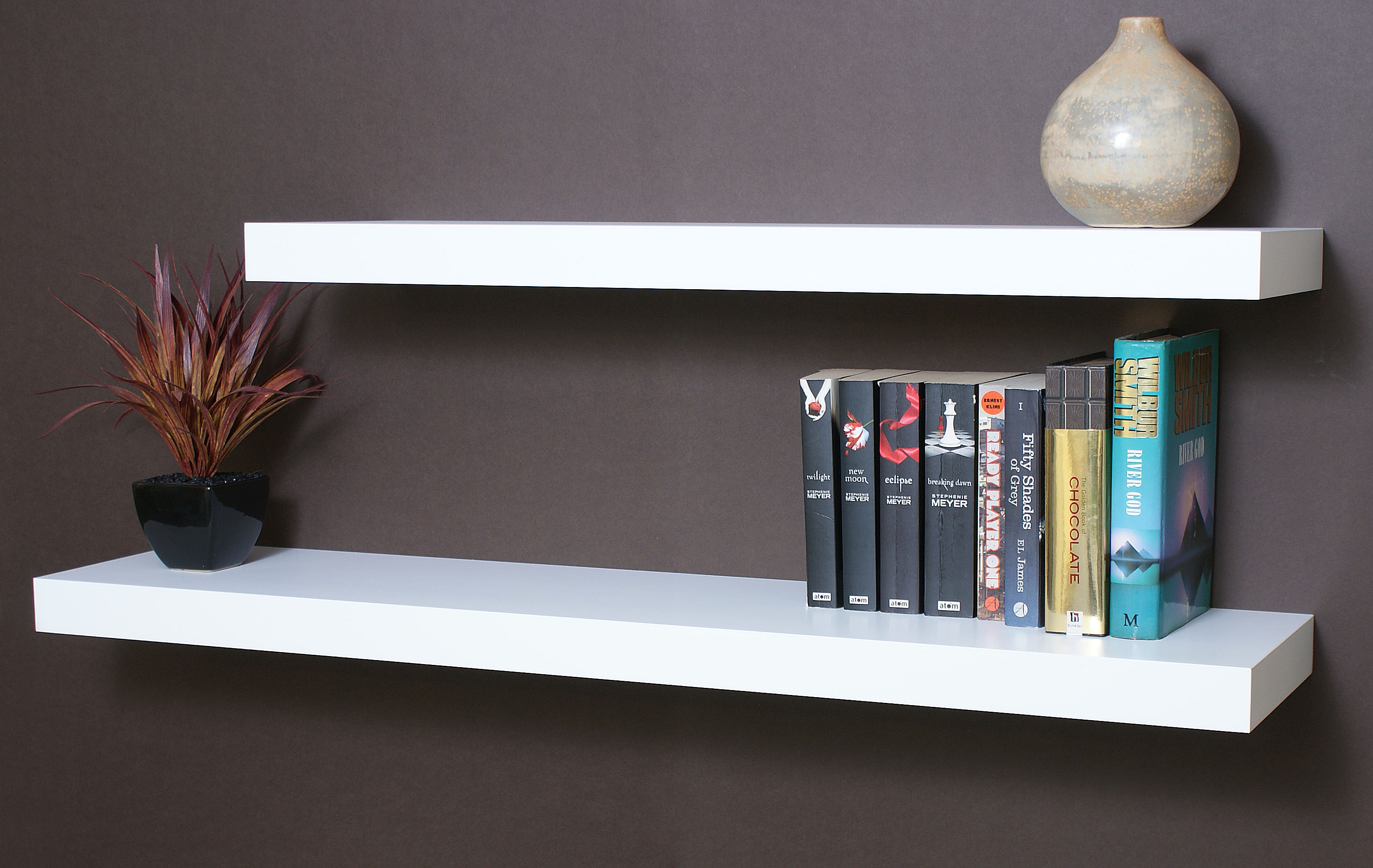 White Floating Shelf Kit 1500x250x50mm Mastershelf