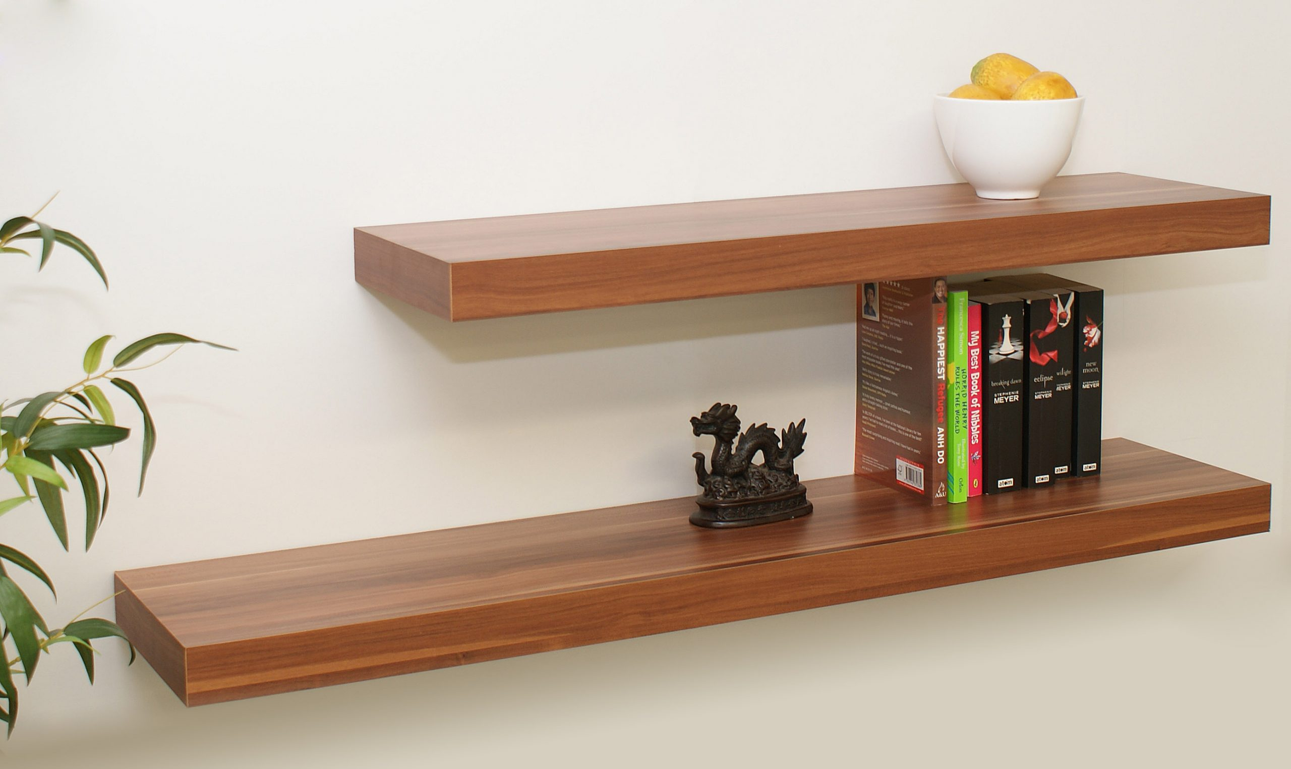 floating shelves walnut 1150 900x250x50 double deal