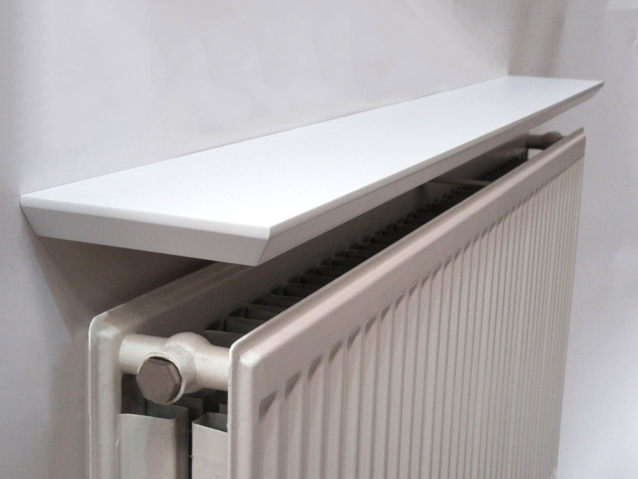 White Beveled Radiator Shelf 24x6x 1 Inch Thick