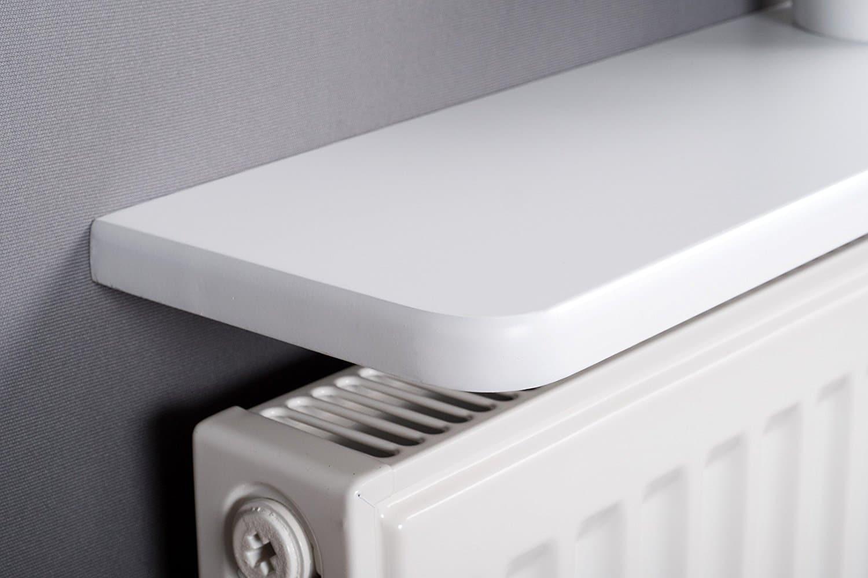 White Rounded Radiator Shelf 48x6 Inch 1200x150x18mm